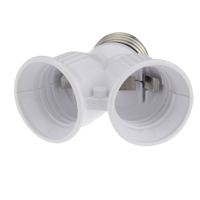 1-to-2 E27 Dual Head Socket - White + Silver (250V)