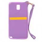 Stylish Protective Back Case w/ Card Holder Slots / Hand Strap for Samsung Galaxy Note 3 - Purple