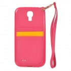 Stylish Protective Back Case w/ Card Holder Slots / Hand Strap for Samsung Galaxy S4 i9500 - Red