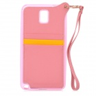 Stylish Protective Back Case w/ Card Holder Slots / Hand Strap for Samsung Galaxy Note 3 - Pink