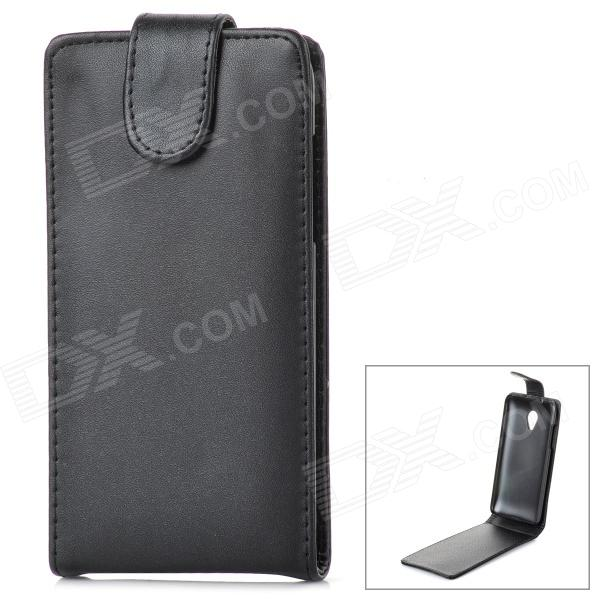 Protective Flip-Open PU Leather + Plastic Case for HTC Desire 700 - Black