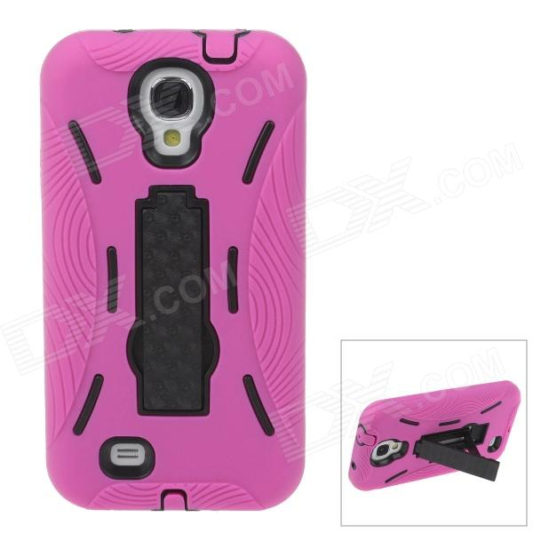 Fashionable Protective Plastic + Silicone Case w/ Stand for Samsung Galaxy S4 - Deep Pink + Black yuerlian красный цвет наушники