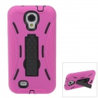 Fashionable Protective Plastic + Silicone Case w/ Stand for Samsung Galaxy S4 - Deep Pink + Black