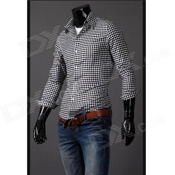 Popular Classic Grid Cotton Casual Men's Slim Fit Long-sleeve Shirt - White + Black (Size-XXL)