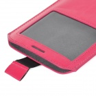 Beskyttende PU skinnpung m / Displayvindu for Samsung Galaxy Note 3 - Deep Pink