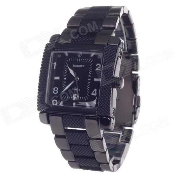 BADACE 2050 Stainless Steel Men's Quartz Wrist Watch w/ Calendar Display - Black (1 x LR626)