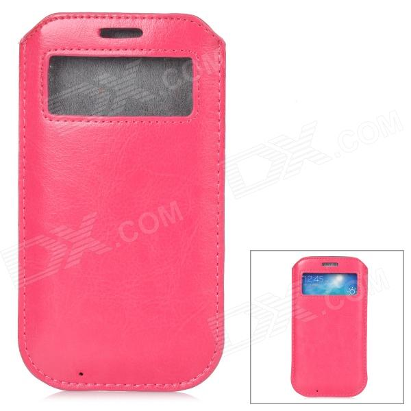 все цены на Protective PU Leather Pouch w/ Display Window for Samsung Galaxy S4 - Deep Pink