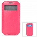 Protective PU Leather Pouch w/ Display Window for Samsung Galaxy S4 - Deep Pink