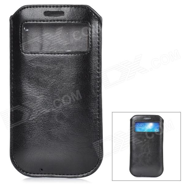 Protective PU Leather Pouch w/ Display Window for Samsung Galaxy S4 - Black