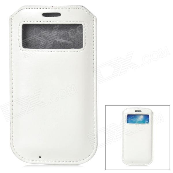 Protective PU Leather Pouch w/ Display Window for Samsung Galaxy S4 - White
