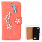 PUDINI WB-14015G Protective Crystal Dragonfly Style PU Leather Case for IPHONE 5 - Watermelon Red
