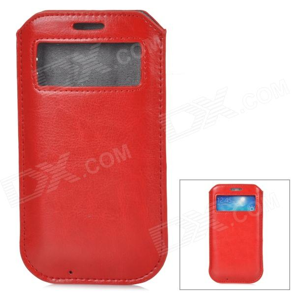 Protective PU Leather Pouch w/ Display Window for Samsung Galaxy S4 - Red
