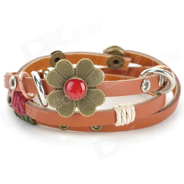 UBE UTY 7032 Fashionable Bracelet - Khaki + Brown + Multi-Colored fashion cupid ornament split leather bracelet coffee brown multi color