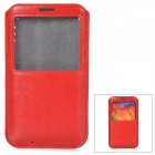 Protective PU Leather Pouch w/ Display Window for Samsung Galaxy Note 3 - Red