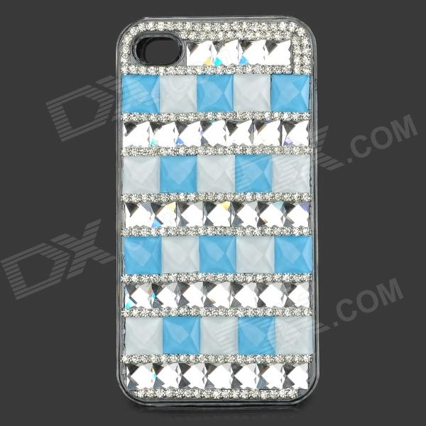 Plastic Protective Plastic Case for IPHONE 4 / 4S - Light Blue + Silver for iphone 7 4 7 inch brushed plastic kickstand shell casing baby blue