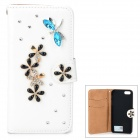 PUDINI WB-14015G Protective Crystal Dragonfly Style PU Leather Case for IPHONE 5 - White
