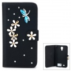 PUDINI WB-0110S4 Protective Crystal Dragonfly Style PU Leather Case for Samsung i9500 - Black