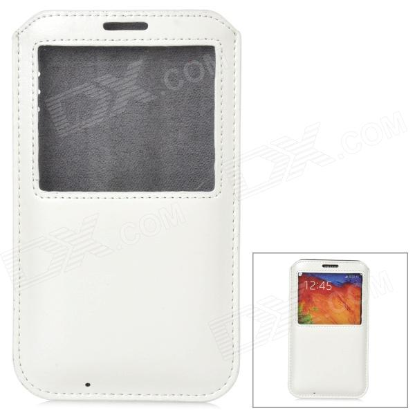 Protective PU Leather Pouch w/ Display Window for Samsung Galaxy Note 3 - White protective pu leather case w display window for samsung galaxy note 3 n9000 white