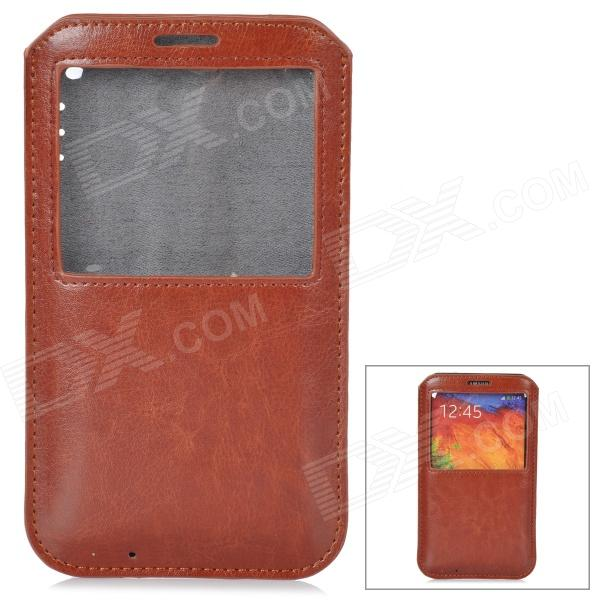 Protective PU Leather Pouch w/ Display Window for Samsung Galaxy Note 3 - Coffee