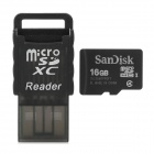 SanDisk Micro SD / TF Memory Card w/ USB Card Reader - Black (16GB / Class 4)