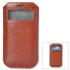 Protective PU Leather Pouch w/ Display Window for Samsung Galaxy S4 - Coffee