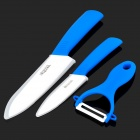 "Bestlead 4"" / 6"" Ceramics Knife + Peeler Set - Blue + White"