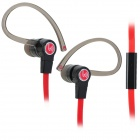 beevo 3.5mm In-ear Ear-hook Style Sports Earphone w/ Microphone for IPHONE - Black + Red (134cm)