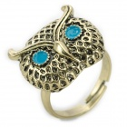JUQI Owl Style Zinc Alloy Finger Ring - Bronze + Sky Blue