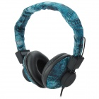 A007 Wired Super Bass Headphones Headset - Light Blue + Black (3.5mm Plug / 122cm)
