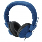 A007 Wired Mega Bass Cloth Headset Headphone - Blue + Black (3.5mm)