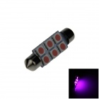 Festoon 41mm 0.5W 60lm 6 x SMD 5050 LED Purple Light Car Reading / Indicator / Roof Lamp - (12V)