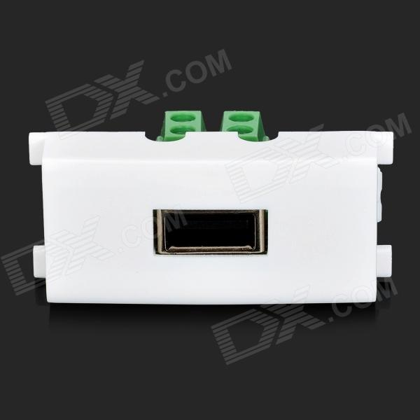USB Female Wall Panel Socket - White + Green + Multicolored