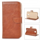 DYTI-006 Protective PU Leather + PC Case w/ Card Holder Slots for Samsung i9500 - Brown