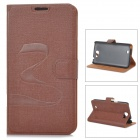 Oracle Style Protective PU Leather + Plastic Case for Samsung N7100 - Brown