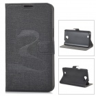 Oracle Style Protective PU Leather + Plastic Case for Samsung N7100 - Black