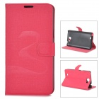 Oracle Style Protective PU Leather + Plastic Case for Samsung N7100 - Deep Pink