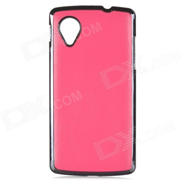 Protective PU Leather + ABS Back Case for LG Nexus 5 - Deep Pink cartoon pattern matte protective abs back case for iphone 4 4s deep pink
