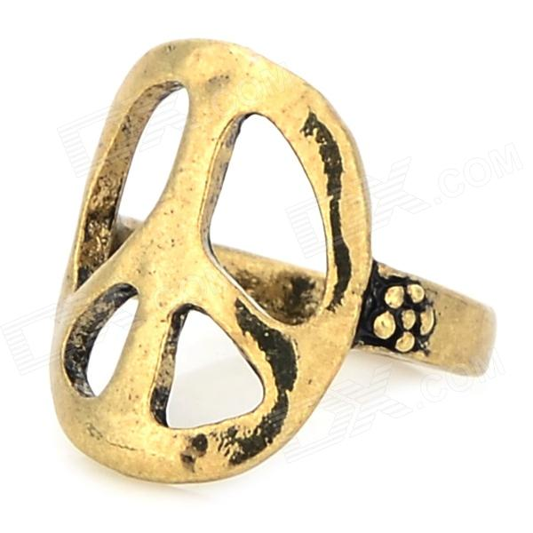 JUQI Peace Logo Finger Ring - Antique Brass