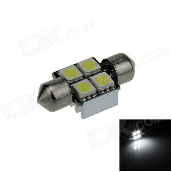 Canbus Festoon 31mm 1W 60lm 4 x SMD 5050 LED White Car Roof light / Reading Lamp w/ Heat Sink (12V) lx 3w 250lm 6500k white light 5050 smd led car reading lamp w lens electrodeless input 12 13 6v