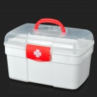 Portable Medicine Pill Storage Box First Aid Kit - White + Red