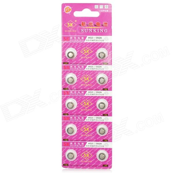 AG3 392A 1.55V Cell Button Batteries - Silver (10PCS)