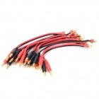 T Male to 4.0mm Gold Plated Banana Silicone Wire - Black + Red (10 PCS)