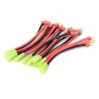 T Male to Mini TAMIYA Female Connector Silicone Wire - Black + Red (10 PCS)