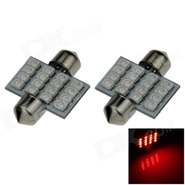 Festoon 31mm 1.6W 130lm 16 x SMD 1210 LED Red Light Car Reading / Roof / Dome Lamp - (12V / 2 PCS)