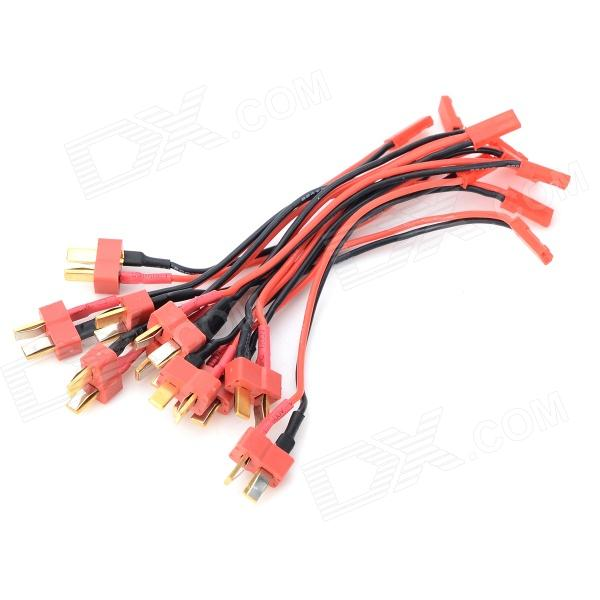 T Male to JST Female Silicone Wire - Black + Red (10 PCS) xt60 male to 2 xt60 female connecting wire black red 5 pcs