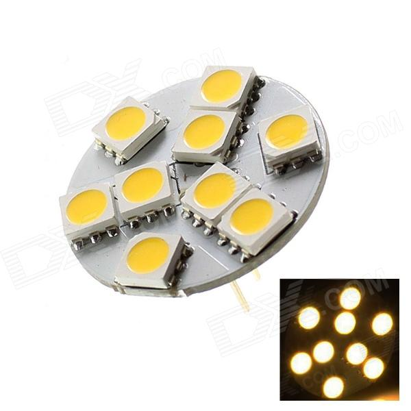 OOQ G4 1.8W 60lm 9 x SMD 5050 LED Warm White Car Light - White (DC 12V / 90°)