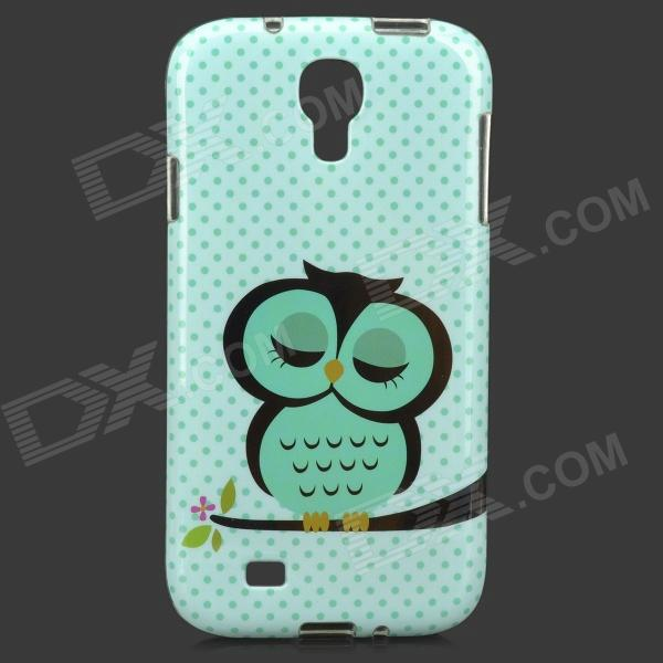 Sleepy Owl Style Protective TPU Back Case for Samsung Galaxy S4 i9500 - Green owl pattern protective tpu back case for samsung galaxy s5 green black