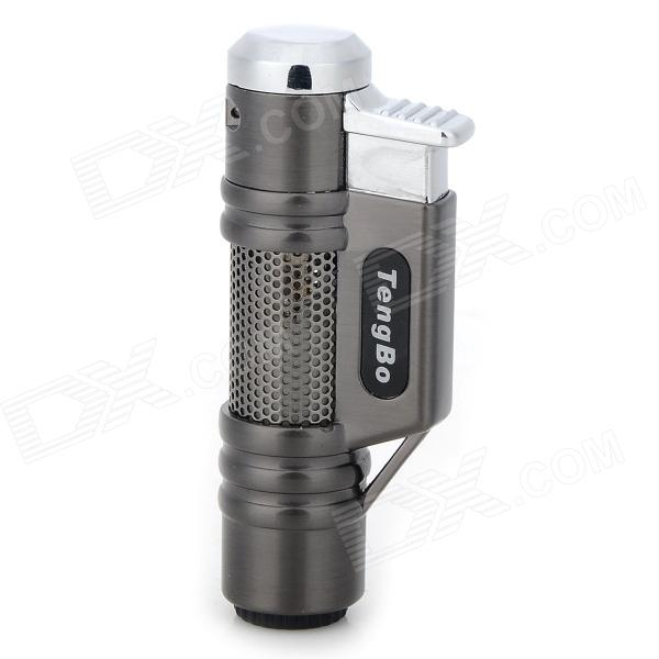 STHJ001 Double Head Butane Jet Lighter - Deep Grey + Silver White jobon zb 529 high quality multi purpose zinc alloy windproof lighter black titanium