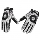 Qepae F7506b Outdoor Cycling Full-Finger Breathable Gloves - Black + White (Size M)