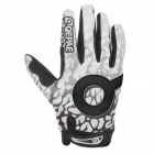 Qepae F7506b Outdoor Cycling Full-Finger Breathable Gloves - Black + White (Size XL)